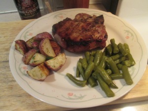 Grilled Chops, Green Beans, Roasted Potatoes...I bet your mouth is watering now!